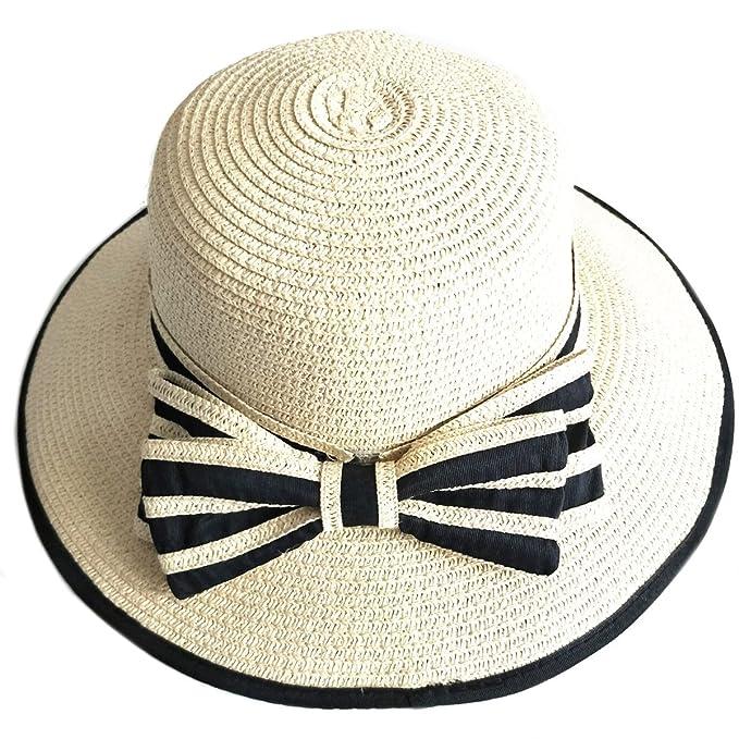 PREMYO Sombrero Mujer de Verano en Color Natural. Elegante Sombrero de Paja  de Mujer con 6fd52935afa