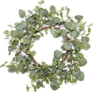 VGIA Green Leaf Eucalyptus Wreath for Summer/Fall Festival Celebration Front Door/Wall/Fireplace Laurel/Eucalyptus Hanger Home Relaxed Decor