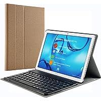 KILISON Huawei MediaPad M5 10.8 Tastatur Hülle - [QWERTZ Layout] PU Leder Tasche mit Standfunktion Magnetisch Abnehmbarer Wireless Keybord Case für Huawei Mediapad M5 10.8/10.8 Pro 10,8 Zoll, Braun