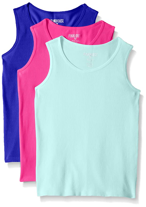 Pink House Girls' 3 Piece Rib Seamless Tank, Neon Hot Pink/Mint/Neon Blue, 7-16