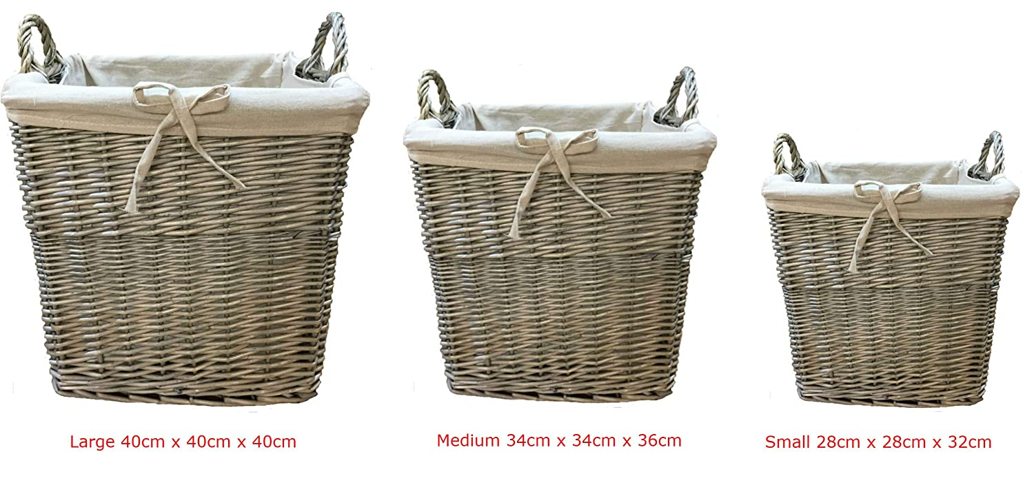 Wicker Log Basket - Storage Basket (Set(3) Large+Medium+Small) Zohula