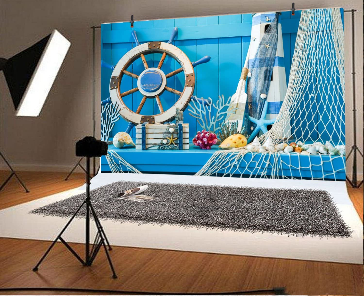 LFEEY 7x5ft Blue Wooden Wall Nautical Birthday Backdrop Seashells Sailing Ship Wheel Helm Fishing Net Starfish Summer Party Photography Background for Events Videos YouTube Photo Studio Props