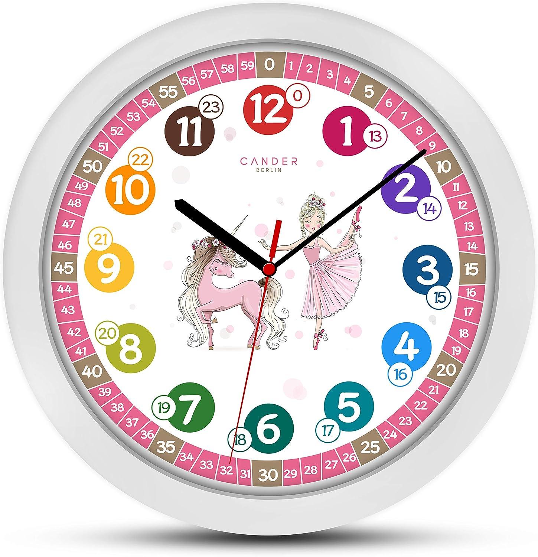 Cander Berlin MNU 1730 - Reloj de pared para niños, diseño de unicornio y princesa, silencioso, 30,5 cm, esfera de aprendizaje, color rosa