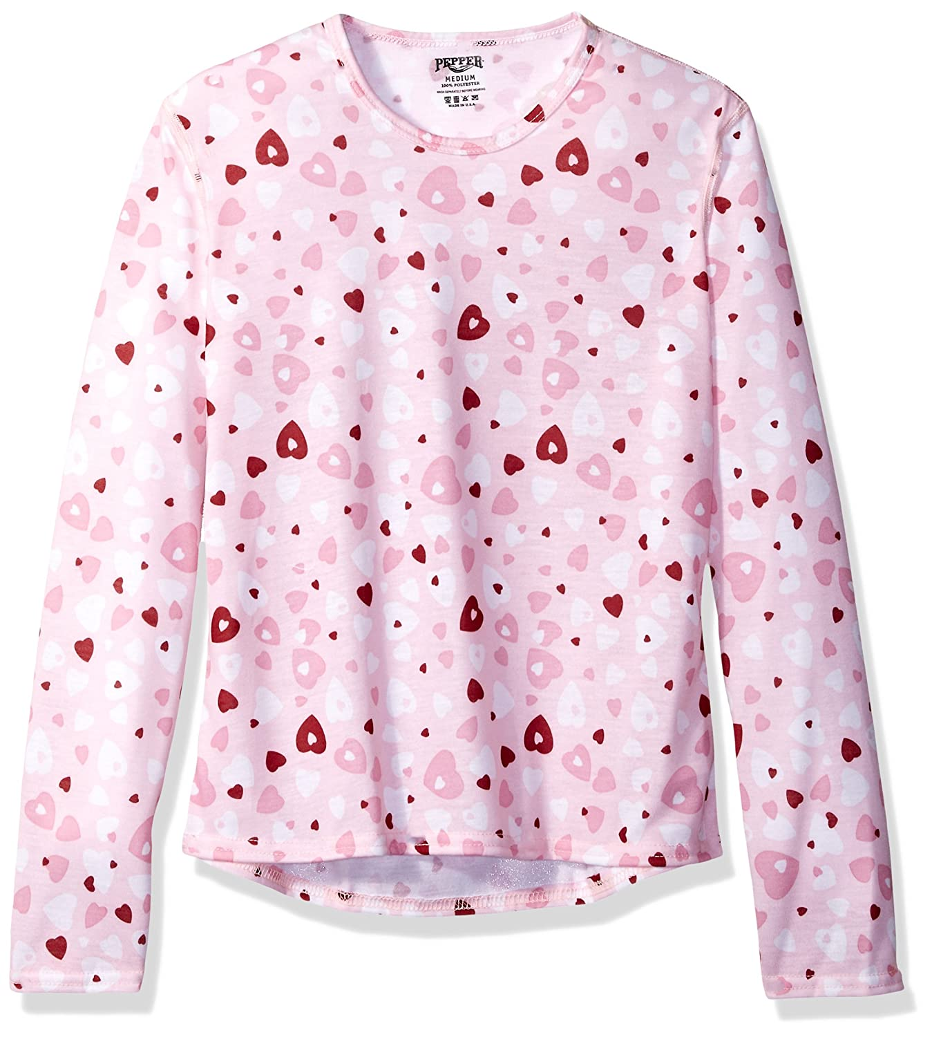Hot Chillys Youth Pepper Skins Print Crewneck, Heart Dance, Medium PS3400P
