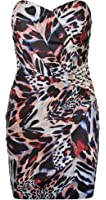 Lipsy Allure Asymmetric Panel Corset Bodycon Dress in Animal Print with Jewel Side Embellishment