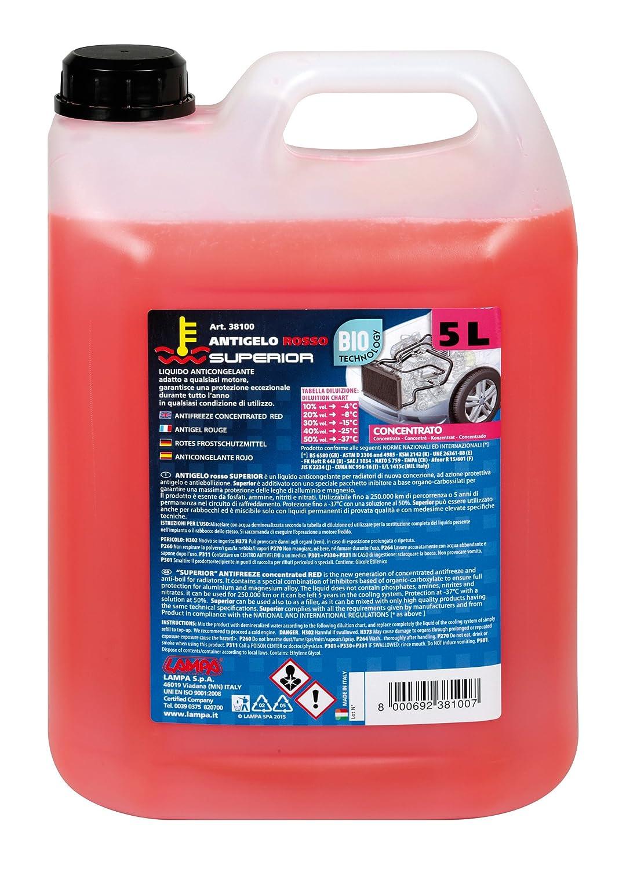 LAMPA 38100 Antigelo Concentrato (-37° ), Rosso, Flacone 5000 ml