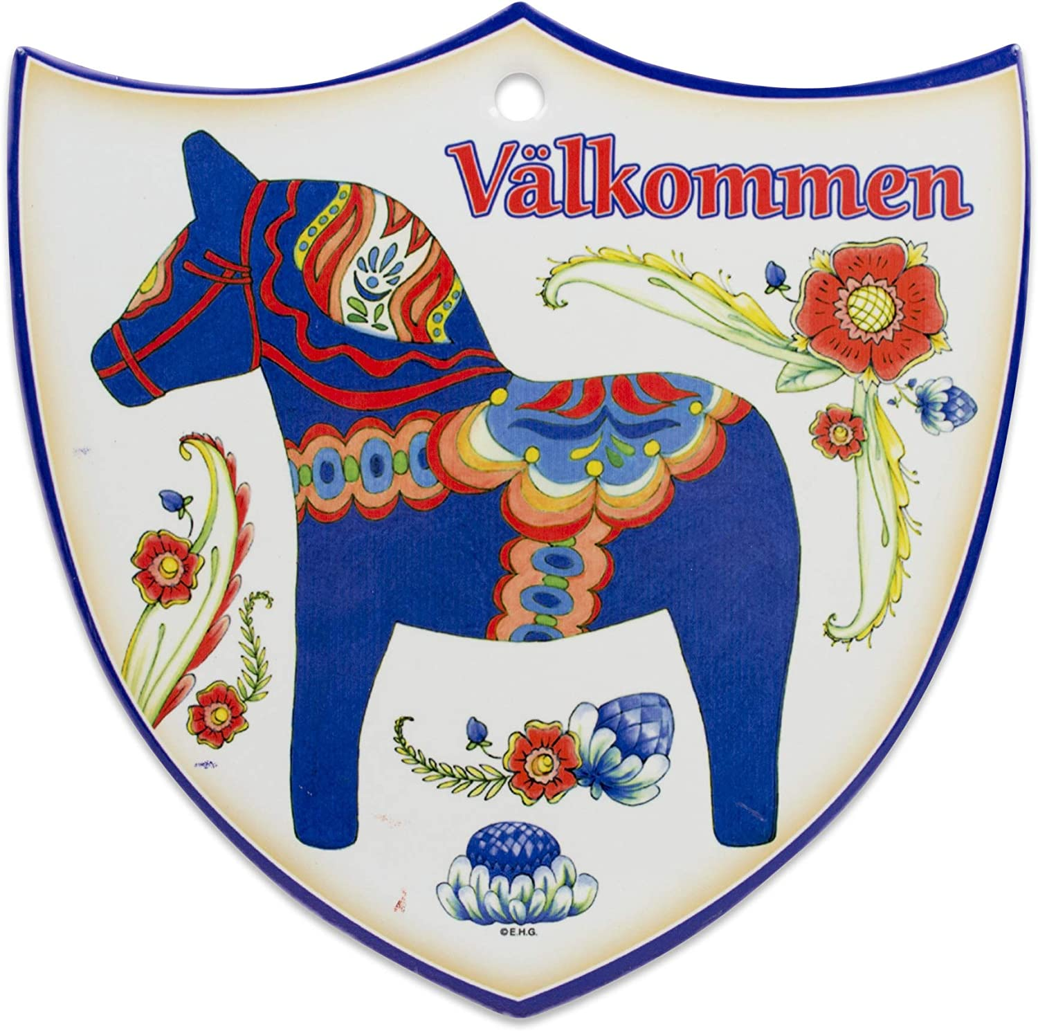 """Essence of Europe Gifts E.H.G Decorative Swedish Blue Dala Horse Arwork with Valkommen Wall Hanging Ceramic Welcome 7.5"""" Shield by E.H.G."""
