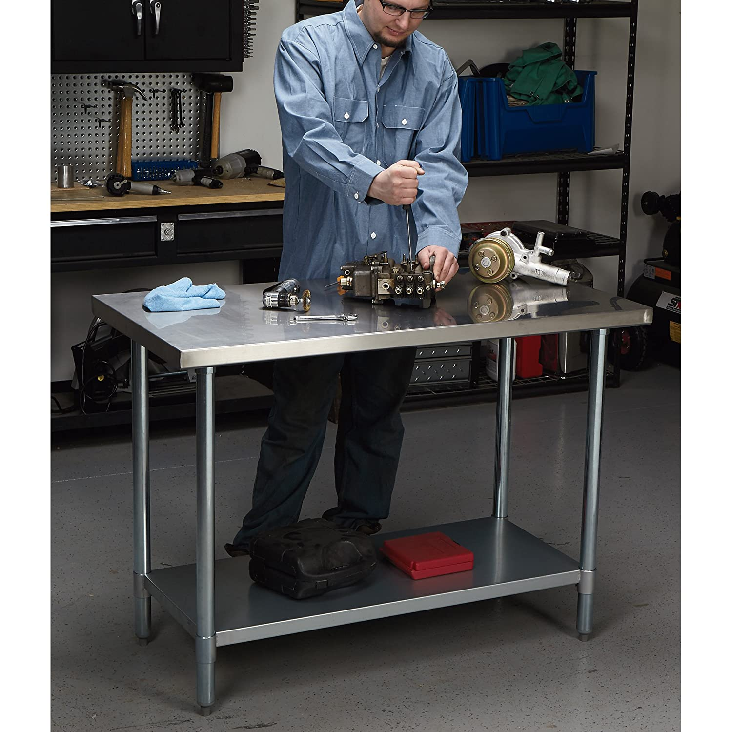 48in.W x 24in.D x 35in.H Roughneck Stainless Steel Work Table