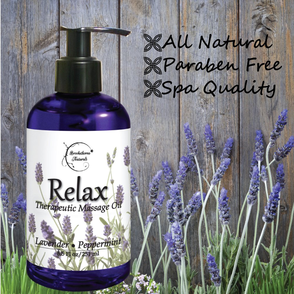 Relax Therapeutic Body Massage Oil - With Best Essential Oils for Sore Muscles & Stiffness – Lavender, Peppermint & Marjoram - All Natural - With Sweet Almond, Grapeseed & Jojoba Oil 8.5oz by Brookethorne Naturals (Image #3)