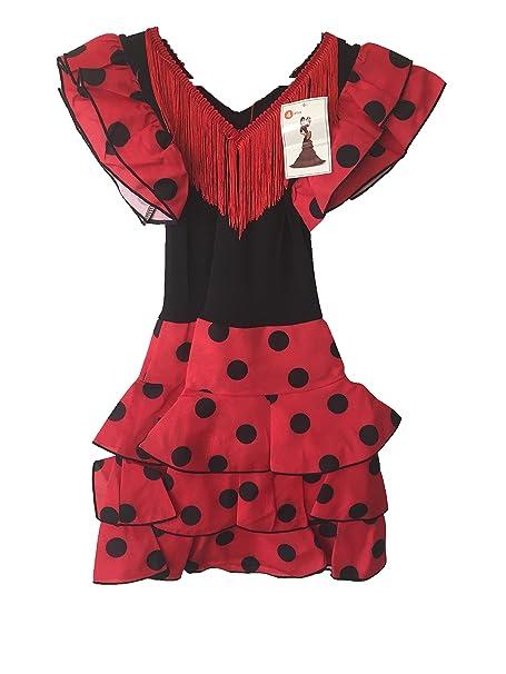 Sevillana - Vestido - para niña Rojo y Negro