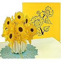 PaperCrush® Pop-Up Karte Muttertag Sonnenblumen - 3D Blumenkarte für Mutter, Oma (Muttertagskarte, Geburtstagskarte, Danke, Gute Besserung) - Handgemachte Popup Karte mit Blumen
