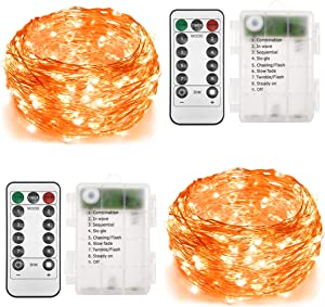 Twinkle Star 2 Set Halloween Fairy Lights Battery Operated, 33ft 100 Led String Lights Remote Control Timer Silver String Lights 8 Modes Firefly Christmas Lights for Garden Party Indoor Decor, Orange