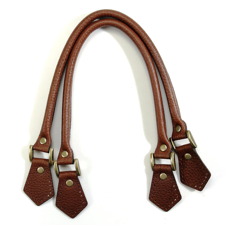 47da8a3d8 Amazon.com: byhands Embossed Leather Purse Handles/Bag Handles, Brown,  18.25