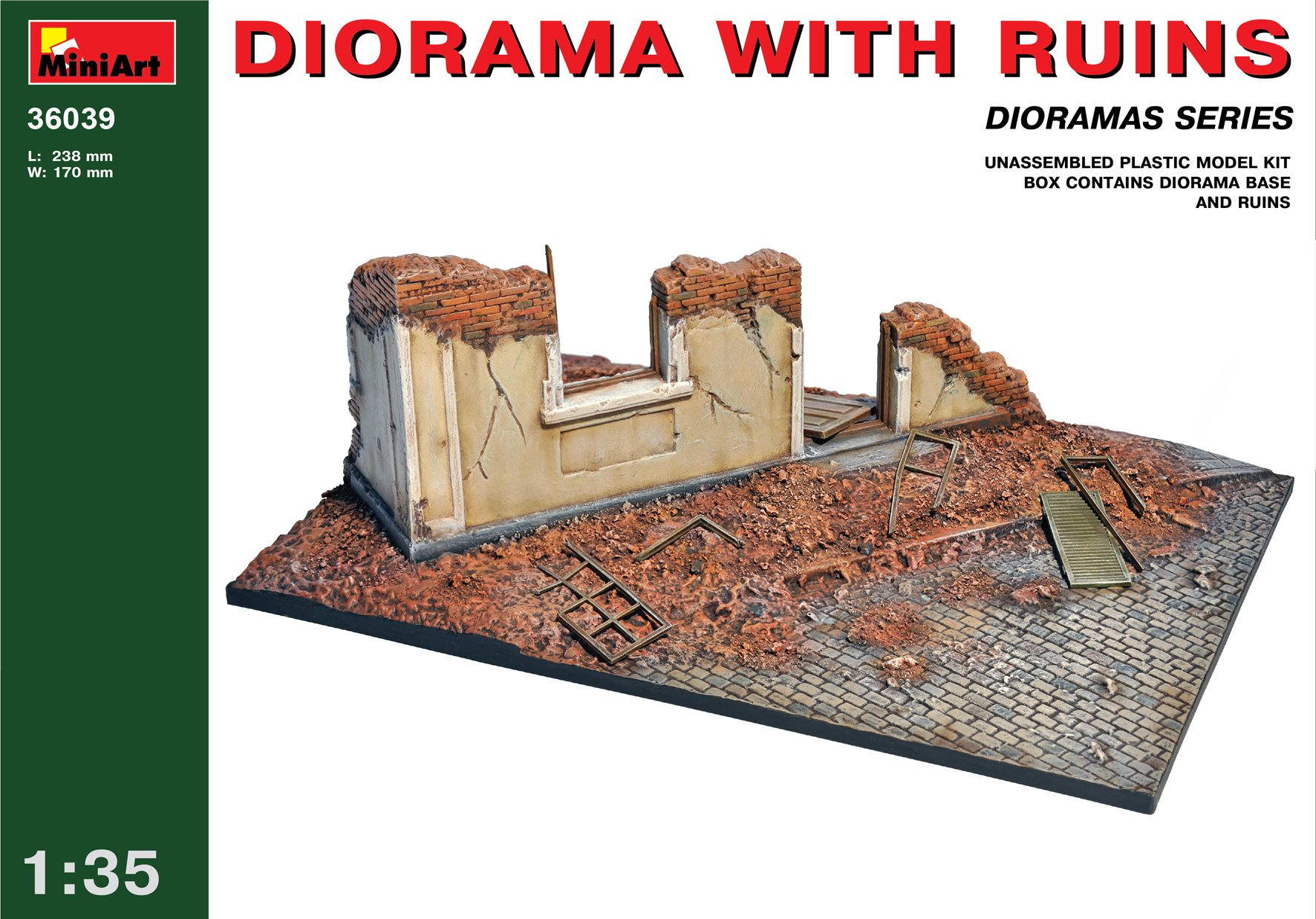 MiniArt 1:35 Scale Diorama with Ruins Plastic Model Kit
