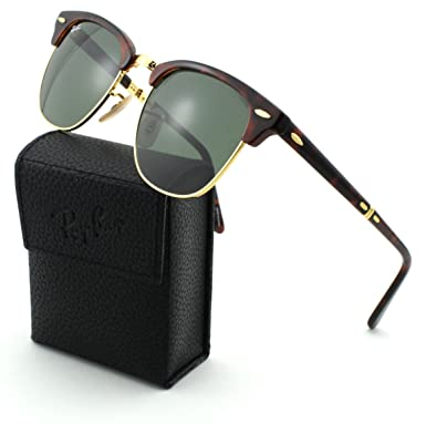 ray ban clubmaster polarised tqwl  Ray-Ban RB2176 CLUBMASTER FOLDING Red Havana Frame/Crystal Green Lens 990,  51mm