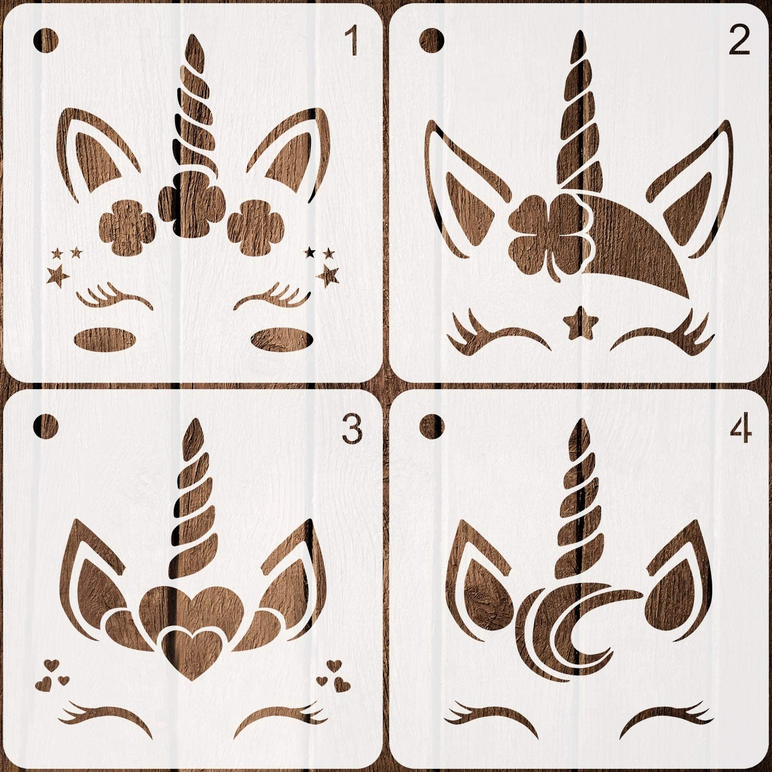 4 Pieces Unicorn Stencils Plastic Art Craft Stencils Reusable Unicorn Drawing Template for Painting on Walls Canvas Wood Furniture, 7.9 Inches