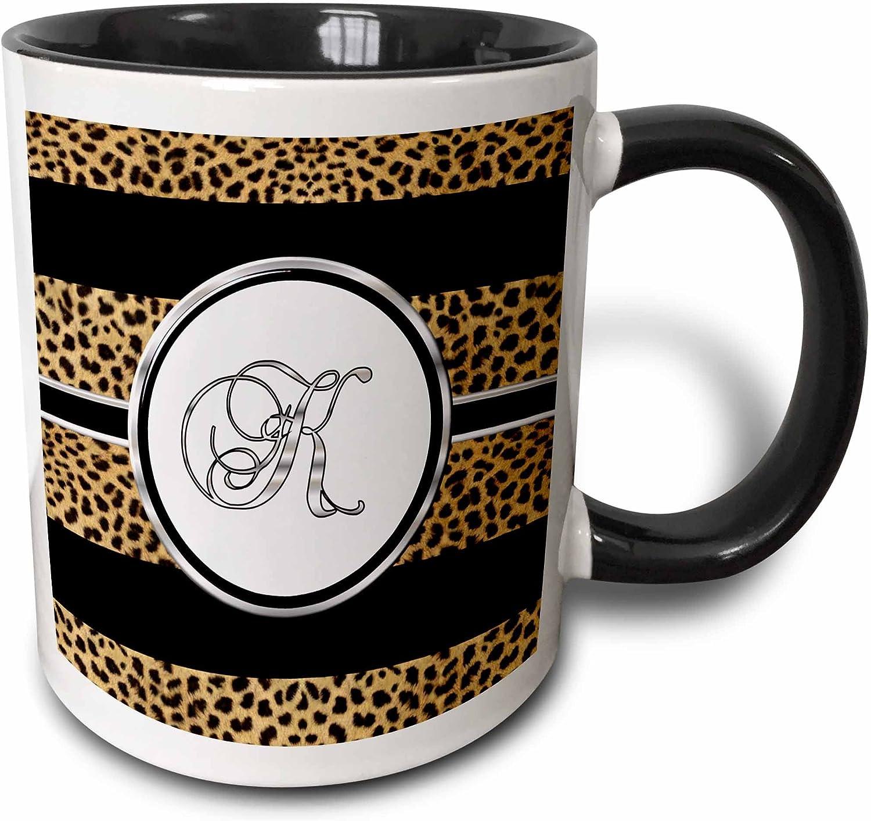 3dRose mug_180680_4 Elegant Cheetah Animal Print Monogram Letter K Two Tone Mug, 11 oz, Black
