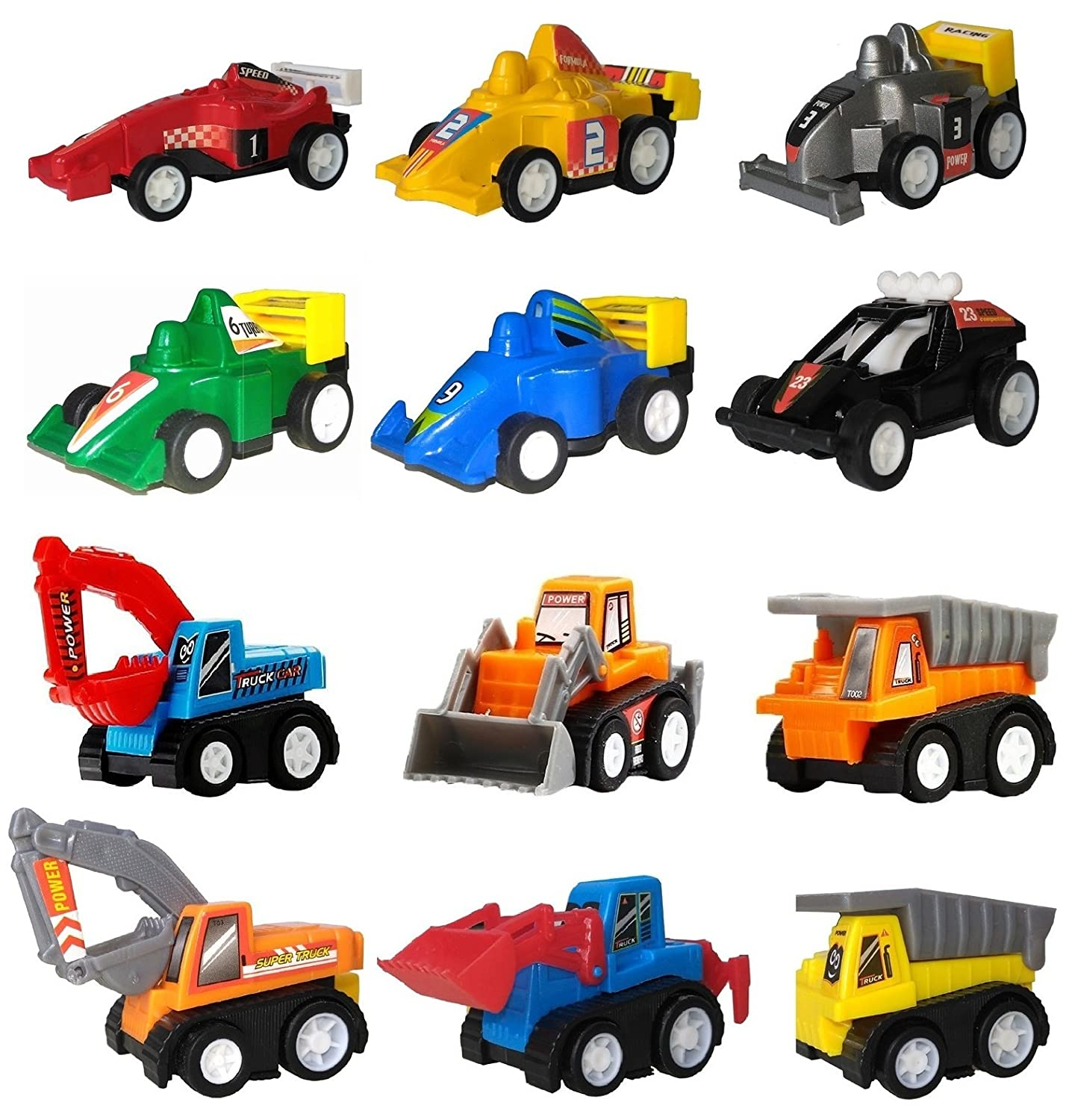 WINONE Pull Back Cars Toys For 3 4 5 Year Old Boys Girls 12 Pack Kids Vehicles And Racing Easter Egg Filler Party Favors