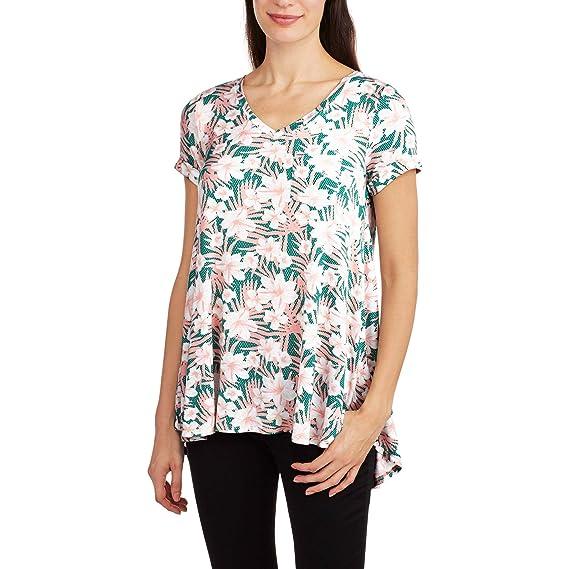 c7ee4f5a06f Ocean Pacific Women s High Low V-Neck Pocket Boyfriend T-Shirt (XX ...
