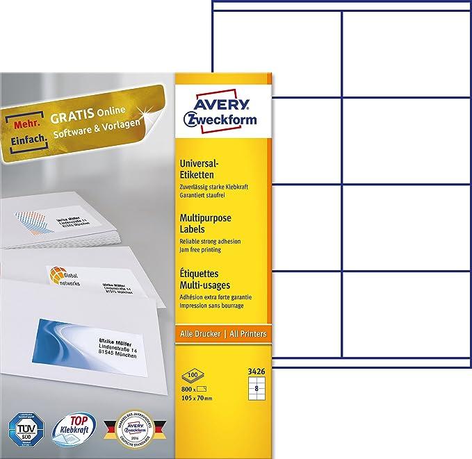 Avery Zweckform 3426 Universal-Etiketten (A4, Papier matt, 800 ...