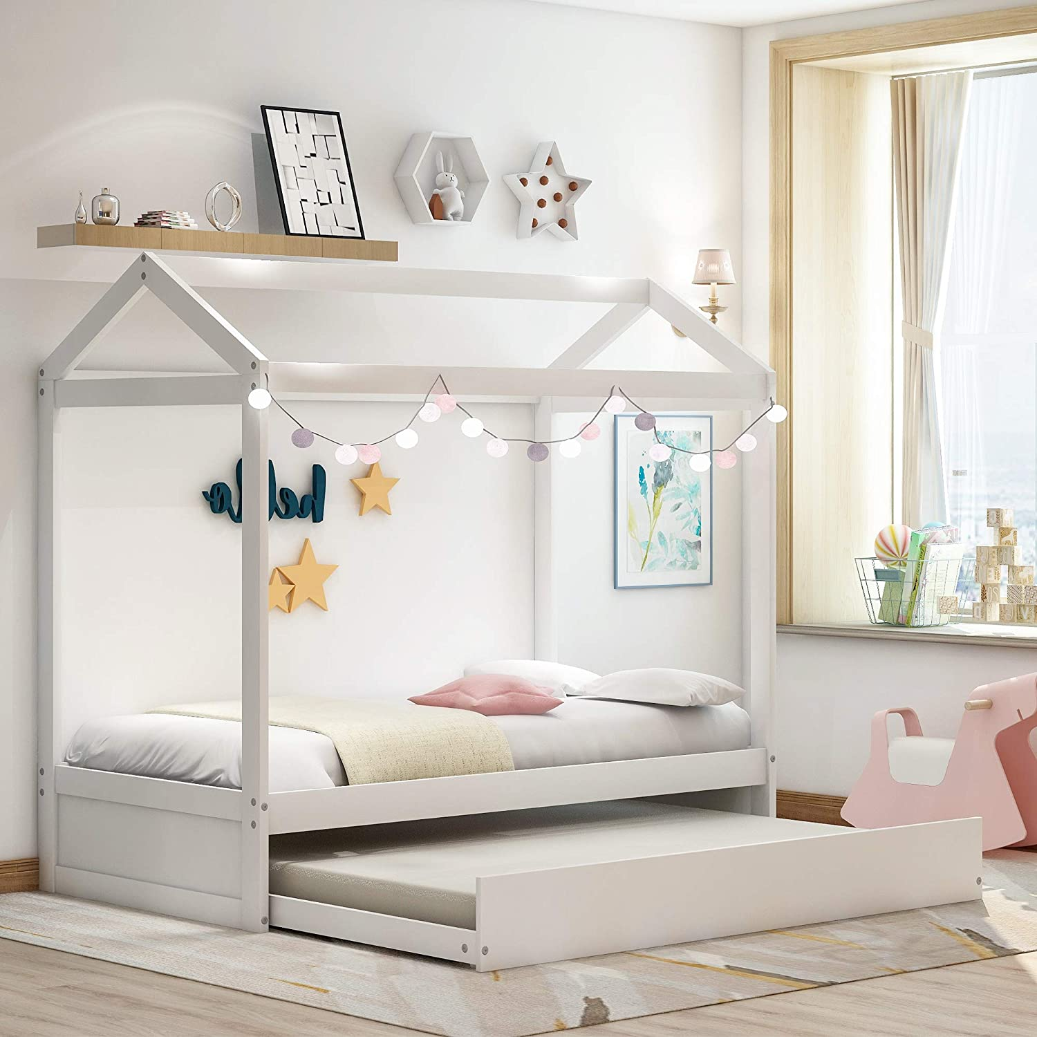 Twin Daybed With Trundle And Roof Wood Twin Size House Bed Frame For Kids Bedroom Furniture Premium Wood Children Toddler House Bed Frame Twin Size Tent Bed Floor Bed Can Be Decorated