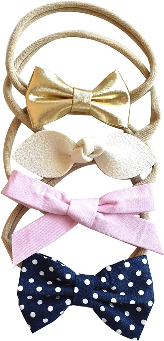 California Tot Bow Soft & Stretchy Nylon Headbands From Newborn to Girls