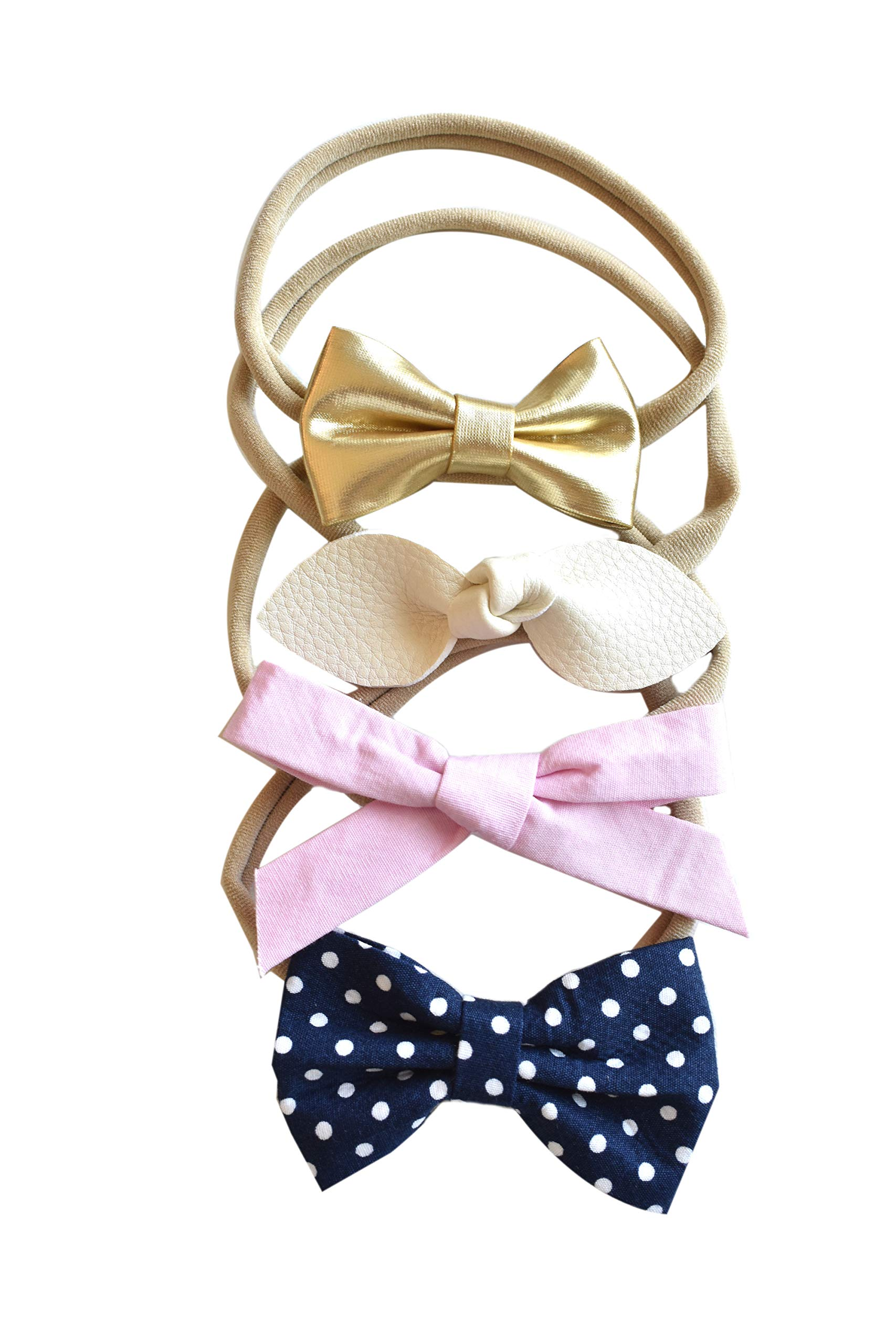 gold faux leather bow with peach and gold polka dots headband