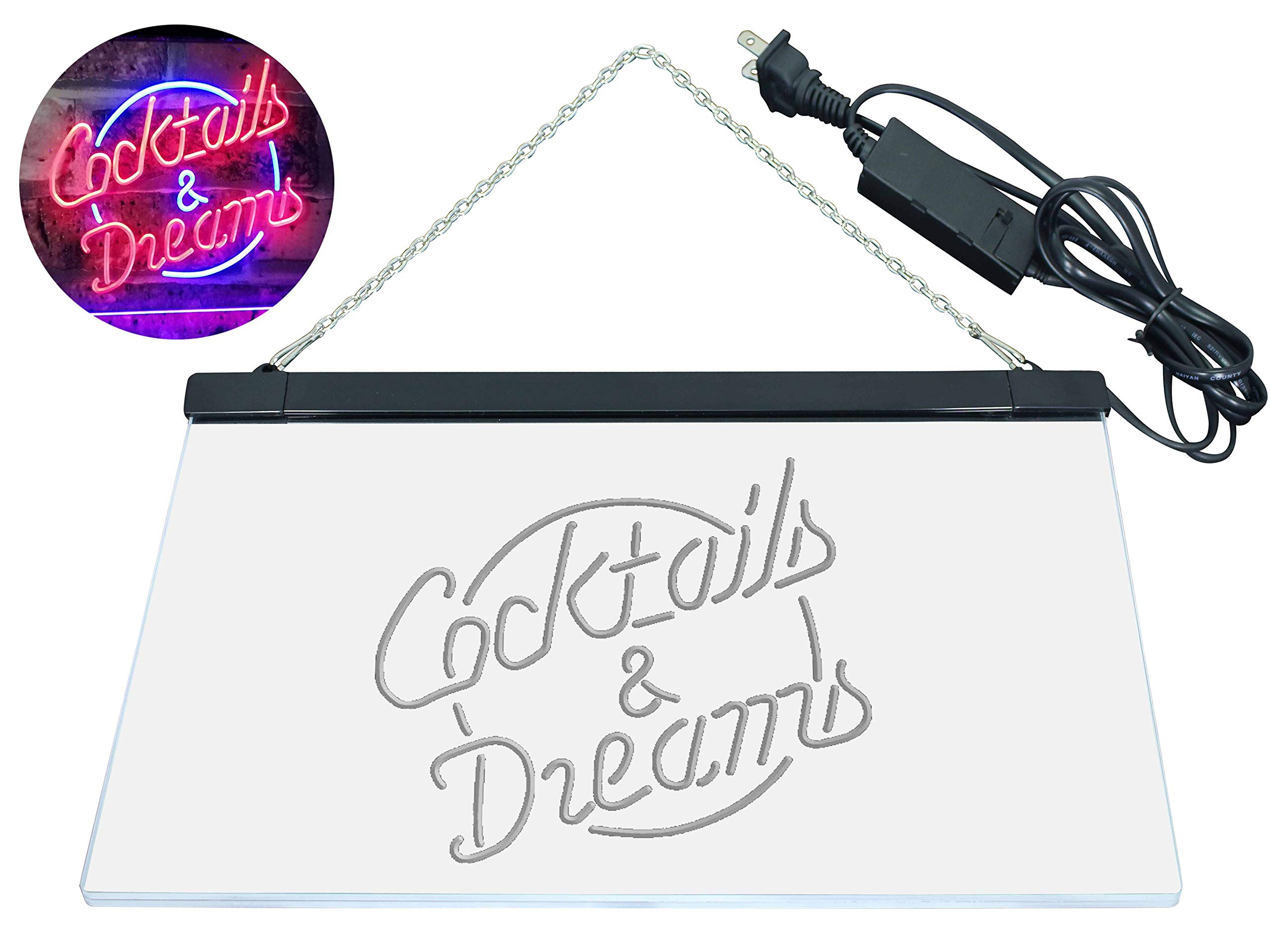 AdvpPro 2C Cocktails & Dreams Bar Beer Wine Drink Pub Club Dual Color LED Neon Sign Blue & Red 12'' x 8.5'' st6s32-i2079-br