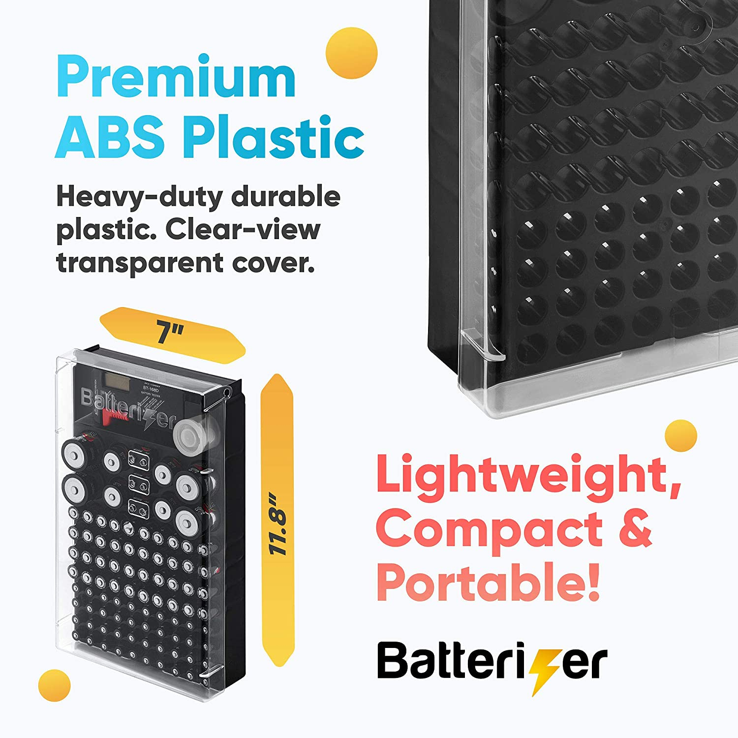 Compact Battery Storage Case with Clear Plastic Lid Holds Over 92 Assorted Batteries Battery Organizer Storage Case with Tester Keeps Batteries Organized by Batterizer V2 7/'X11.8/' Battery Case