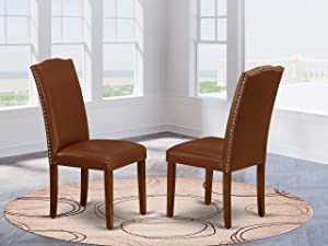 East West Furniture Padded Parson Chair - Luxurious Brown Flaux Leather, Hardwood Mahogany Finish Legs Modern Dining Room Chairs - Set of 2