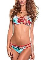 RELLECIGA costume donna top bikini a triangolo push up intrecciato criss-cross