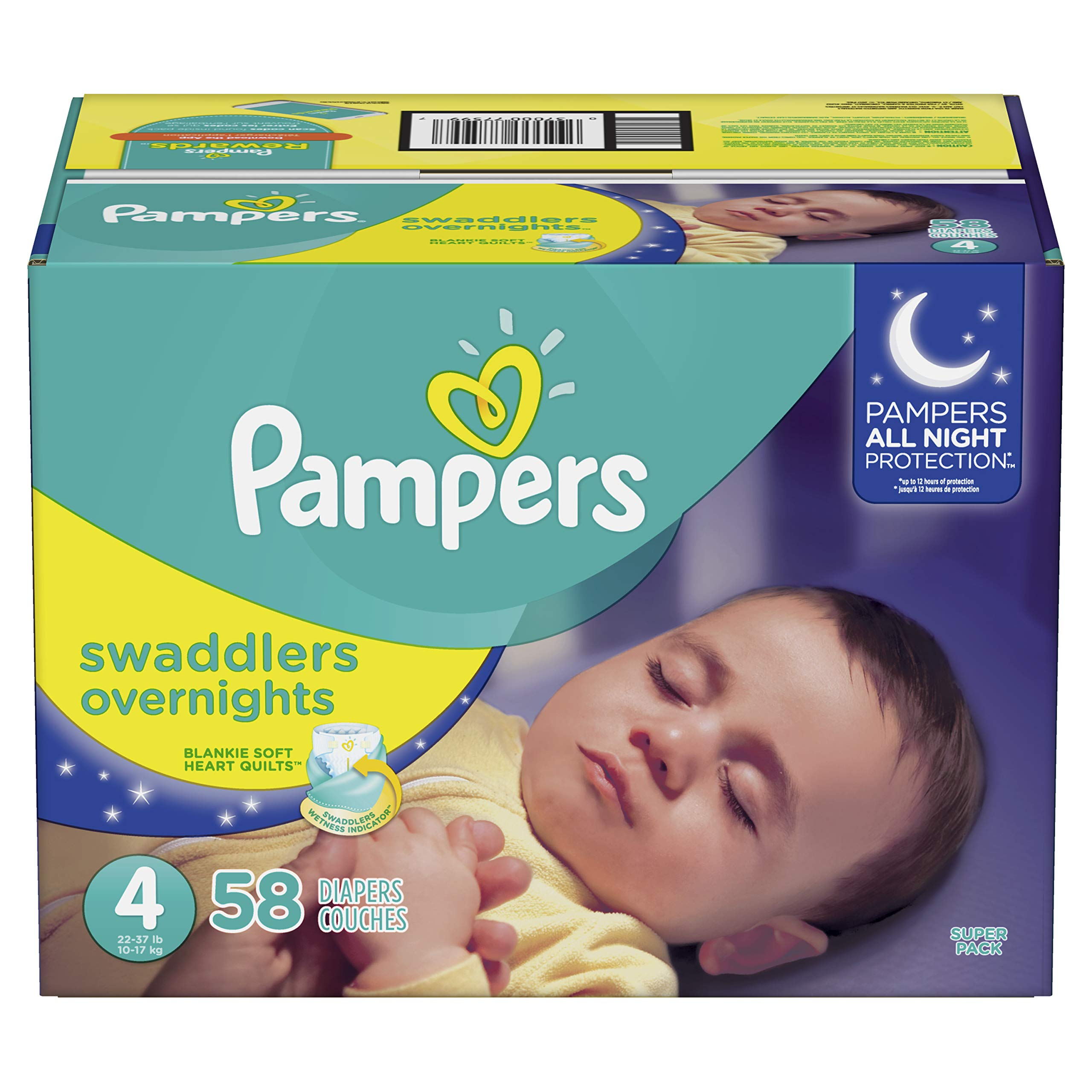 Pampers Swaddlers Overnights Disposable Baby Diapers Size 4, 58 Count, SUPER