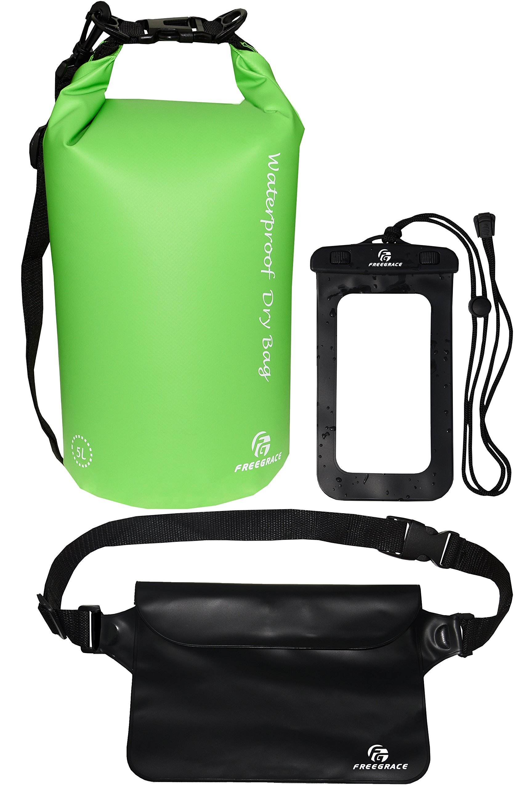 Freegrace Waterproof Dry Bags Set of 3 Dry Bag with 2 Zip Lock Seals & Detachable Shoulder Strap, Waist Pouch & Phone Case - Can Be Submerged Into Water - for Swimming (Green, 5L)