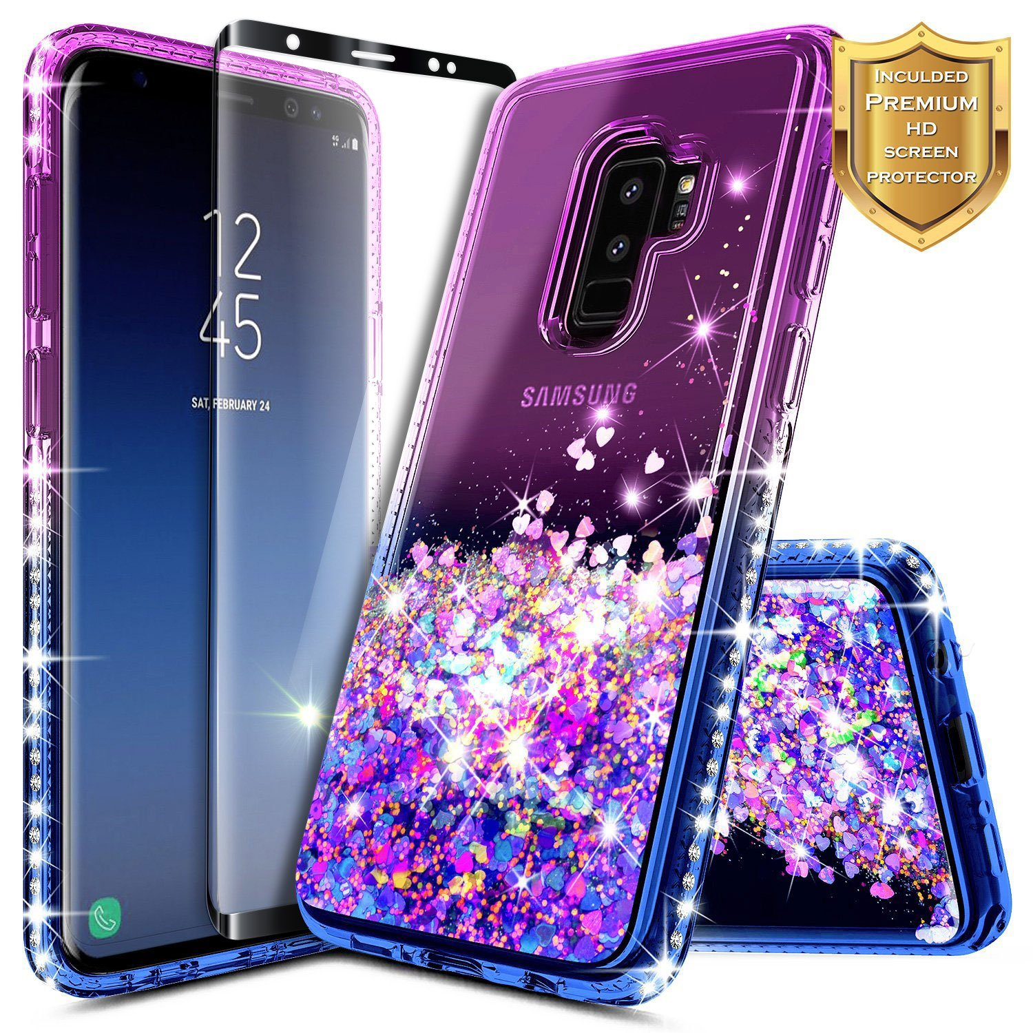 Galaxy S9 Plus Case w/[Full Coverage Screen Protector HD], NageBee Glitter Liquid Quicksand Floating Shiny Sparkle Flowing Bling Diamond Luxury Clear Cute Case For Samsung Galaxy S9 Plus -Purple/Blue