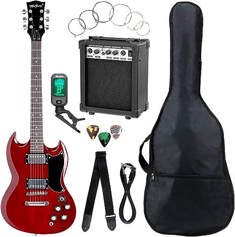 Set completo de guitarra eléctrica McGrey Rockit Doble Cut rojo ...