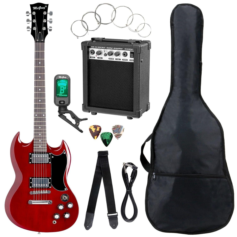 Set completo de guitarra eléctrica McGrey Rockit Doble Cut rojo cereza: Amazon.es: Instrumentos musicales
