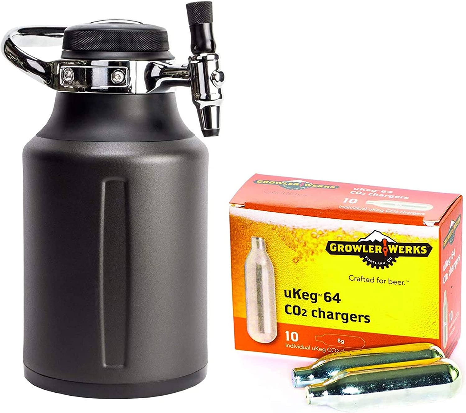 GrowlerWerks uKeg Go Carbonated Growler, 64oz, Tungsten, 10 CO2 Chargers