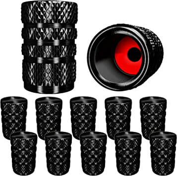 10 Pack Motorcycles Metal SAMIKIVA Aluminum Tire Valve Stem Caps Metal with Rubber Ring Dust Proof Cover Universal fit for Cars Trucks Bike and Bicycle Black SUVs