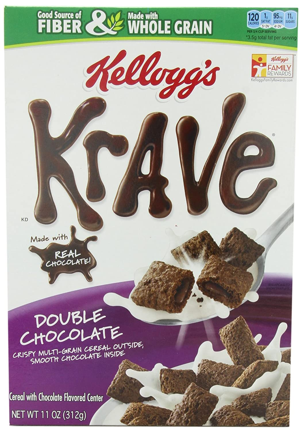 Amazon.com: Kellogg's Krave Double Chocolate Cereal, 11 Ounce ...