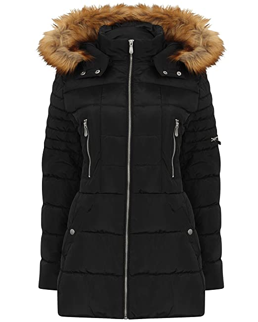 usa cheap sale special section so cheap Mamanji Womens Ladies Padded Fur Hood Warm Winter Coat Parka Puff Puffer  Quilted Thick Water Resistant Adjustable Secure
