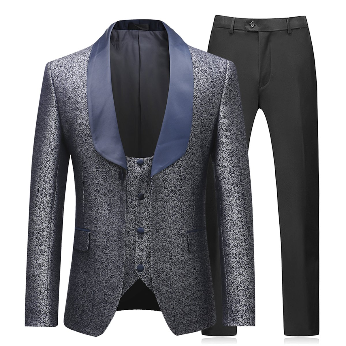 Boyland Mens 3 Pieces Tuxedo Suits Dinner Party Prom Groom Jacquard Tuxedos Gray by Boyland