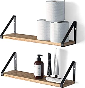 Wallniture Ponza Floating Shelves Wall Mounted Set of 2, Storage Shelves for Bathroom, Bedroom, Kitchen, Laundry Room, Natural Burned Rustic Wood Wall Decor with Metal Floating Shelf Bracket