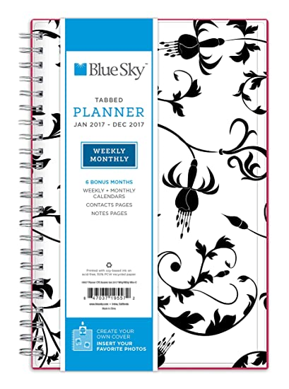 amazon com blue sky 2017 weekly monthly planner wire o binding