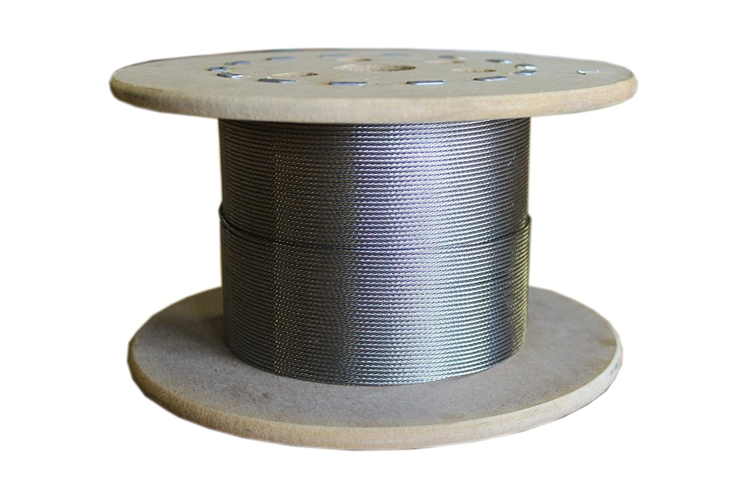 Loos Stainless Steel 302/304 Wire Rope, 1x7 Strand, 1/16' Bare OD, 250' Length, 500 lbs Breaking Strength 1/16 Bare OD 250' Length Loos & Co SC021XXXX-0250S