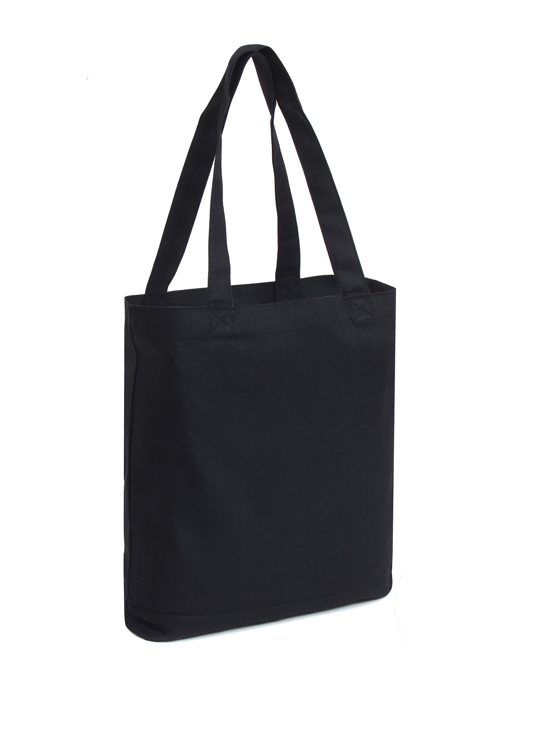 Set of 12 - Medium Tote Bag 14x13x3'', Black, 100% Cotton Canvas by Bumble Crafts (Image #3)