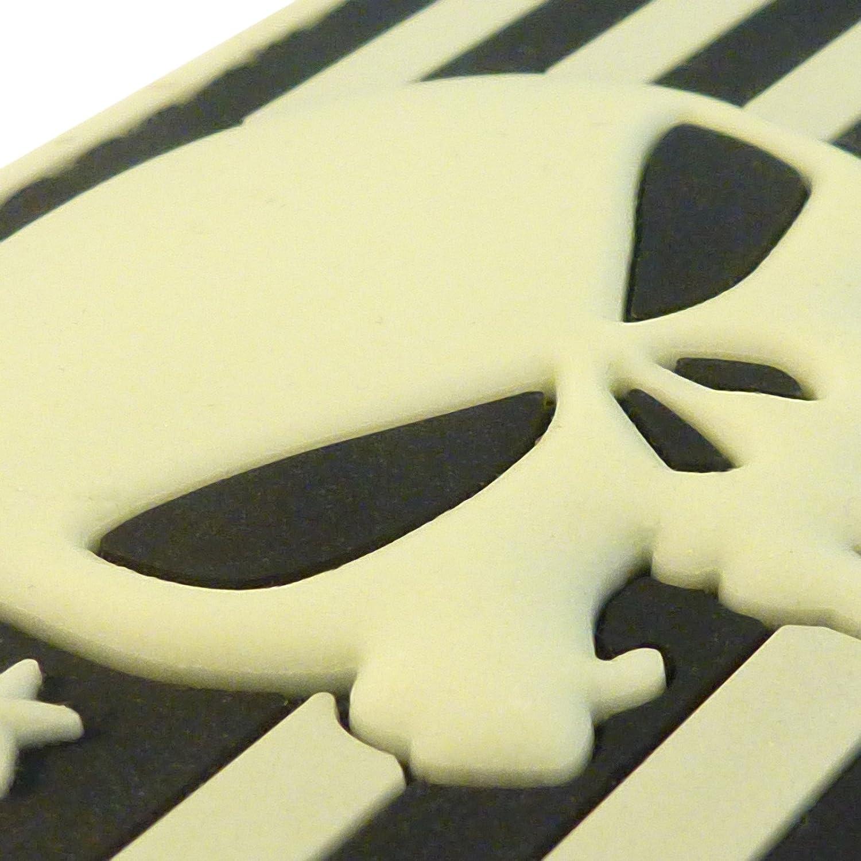 3D Glow GITD Punisher USA Drapeau PVC Gomme Hook/&Loop /Écusson Patch