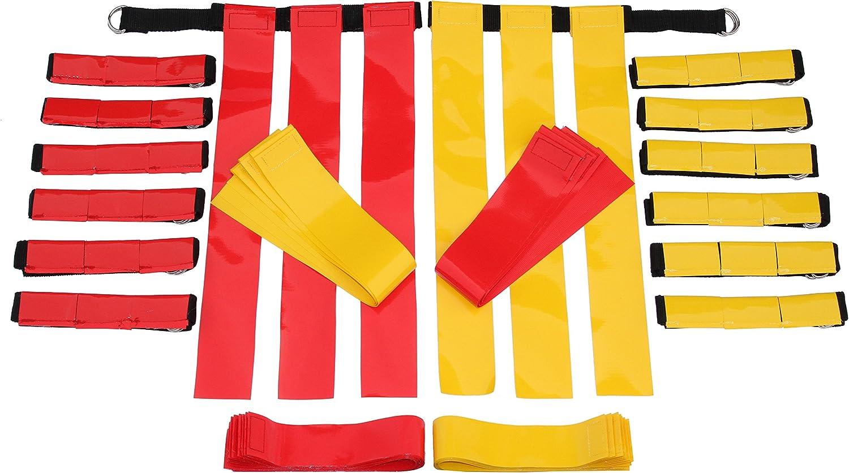 Flag Footballベルト大人用 – 耐久性14 Player Velcro Flag Football Setベルトとフラグに3のフラグのボーナス6交換用ベルトPlusあたりのフラグ( 62ピースキット