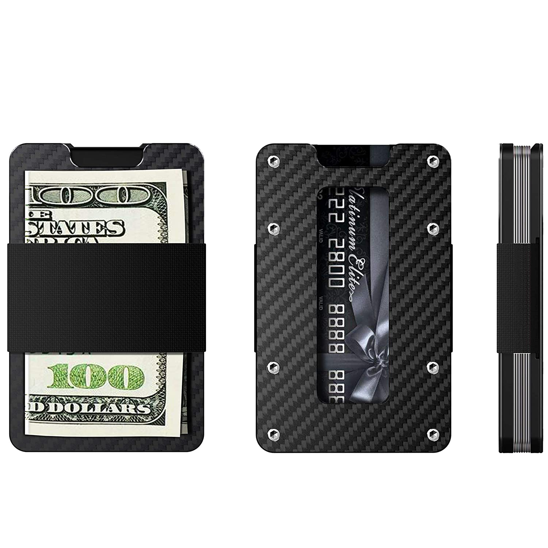 Minimalist Carbon Fiber Slim Wallet for Men /& Women Slim Front Pocket Wallet /& Credit Card Holder RFID Blocking 2018 New