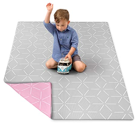 Baby Play Mat for Infants – Foam Padded Soft Ultra Cushioned Floor Mats Make Ideal Baby, Childrens Toddler Mat. Kids 1 Piece playmat Pink Blush Gray Storm, Medium by Berry Lane