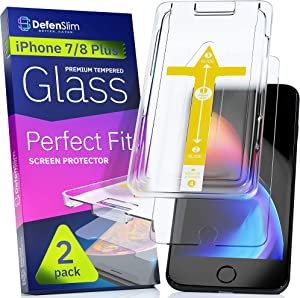 "Defenslim iPhone 8/7 Plus Screen Protector [2-Pack] with Easy Auto-Align Install Kit - Tempered Glass for iPhone 8 Plus, 7 Plus (5,5"") - New Glass with Your Next Phone"